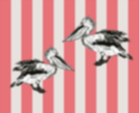 Peacheyboo | British Childrenswear- Pelican Monoprint by Lesley Goudman-Peachey, Flamingo Stripes
