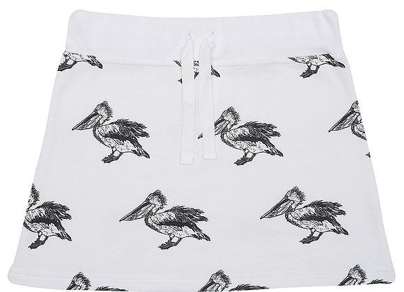 White Pelican Print Skirt