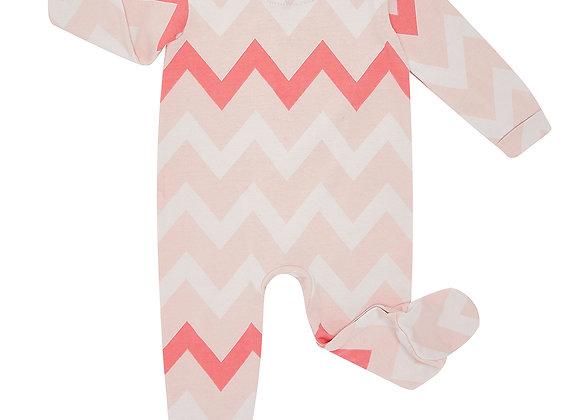 Flash Pink Chevron Babygrow
