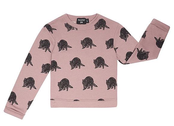 Plum Raccoon Print Sweater