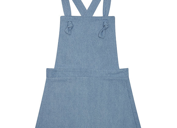 Denim Pinafore Dress: Light Blue