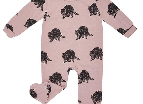 Pink Raccoon Print Babygrow