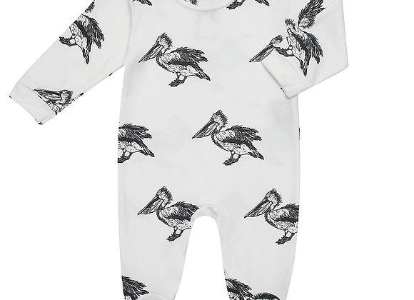 White Pelican Print Babygrow
