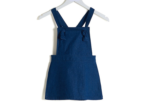 Denim Pinafore Dress: Dark Blue