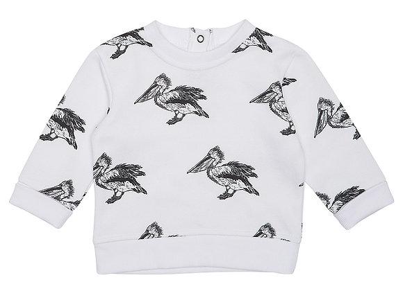 White Pelican Print Sweater