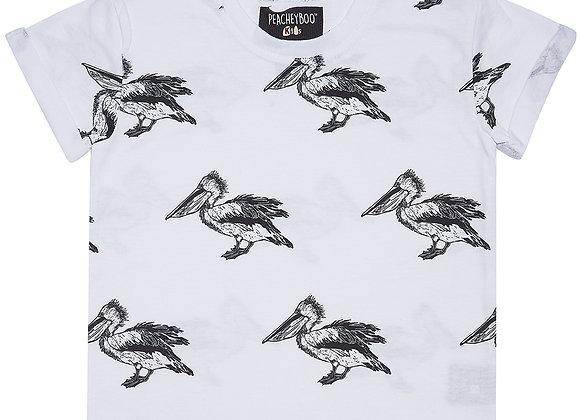 White Pelican Print Tee