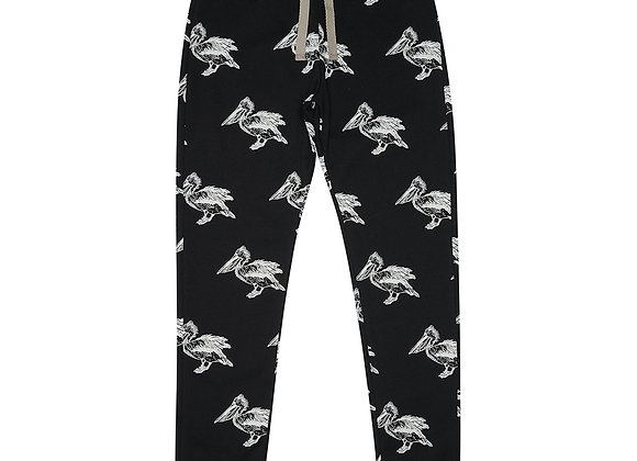 Black Pelican Print Sweatpants
