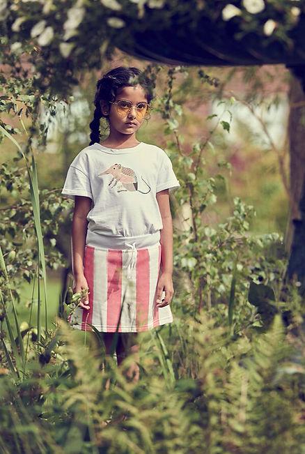 Peacheyboo | British Childrenswear- Shrew Tee, Flamingo Stripe Skirt