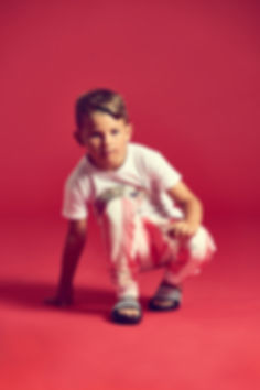 Peacheyboo | British Childrenswear- Armadillo Tee, Flamingo Stripe Sweatpants