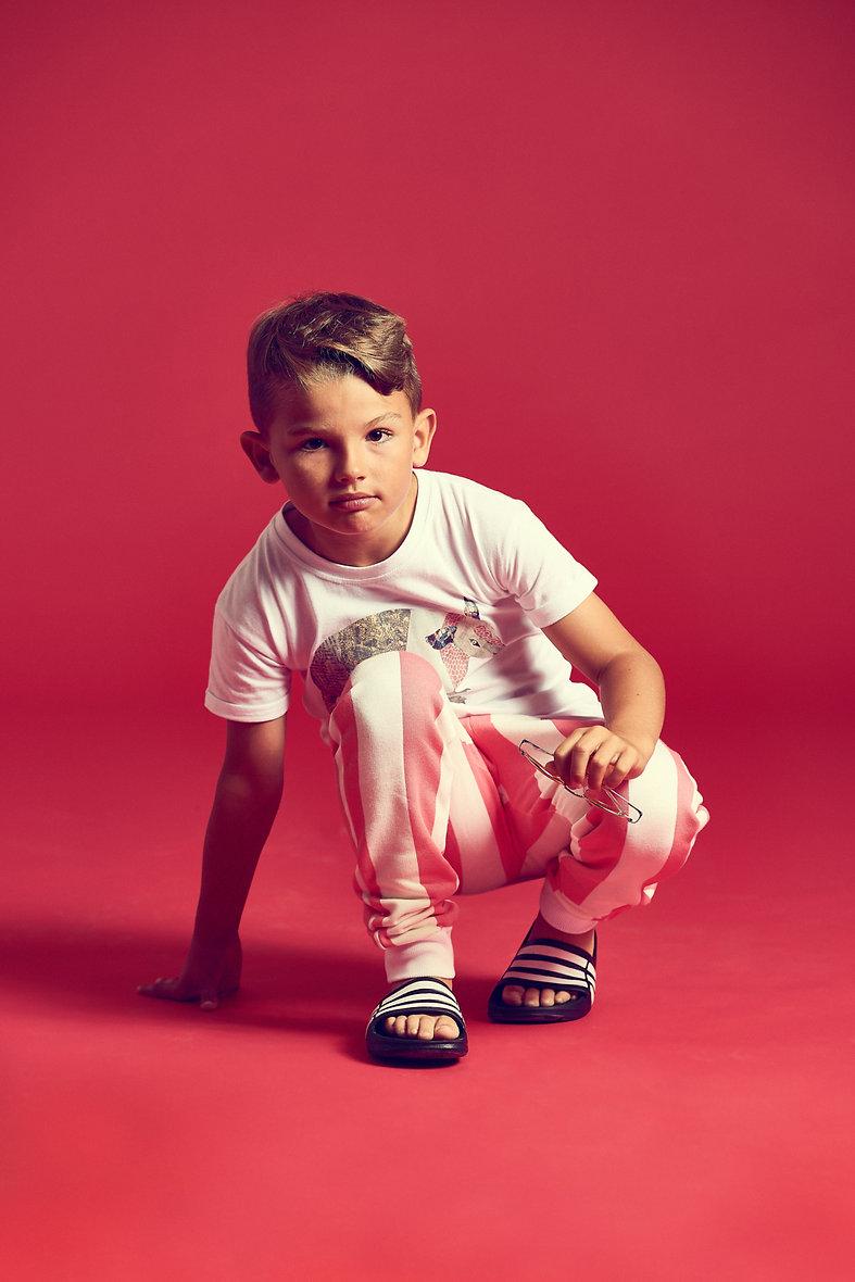 Peacheyboo | British Childrenswear- Armadillo Tee, Flamingo Stripe Sweatpants