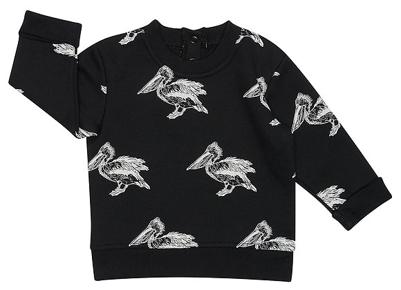 Black Pelican Print Sweater
