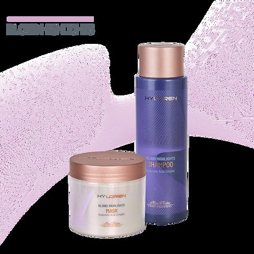 Coffret HyLoren Premium Cheveux Blond Méchés Shampooing & Masque - 500 ml