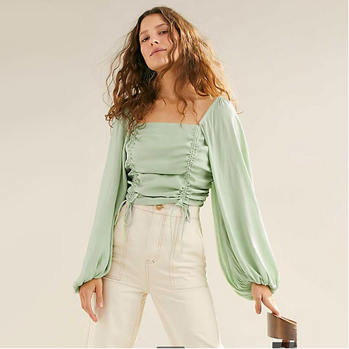 Summer Green Lantern Sleeve Top