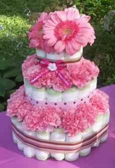 Pink Gerber Daisy Girl Diaper Cake - 3 Tier....
