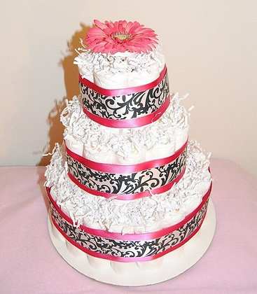 Pink / Black Damask Girl Diaper Cake - 3 Tier....