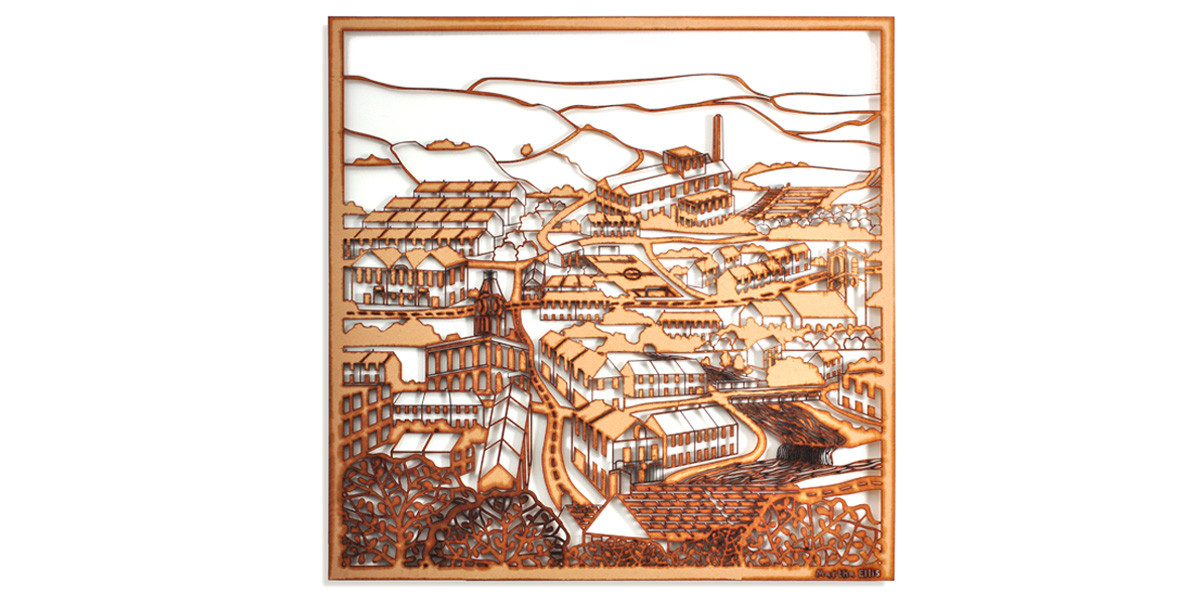 Martha Ellis The Village laser cut drawing Yorkshire