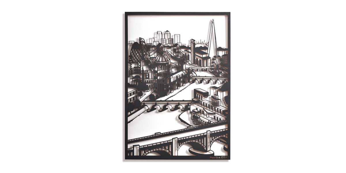 Martha Ellis Down the river London laser cut drawing