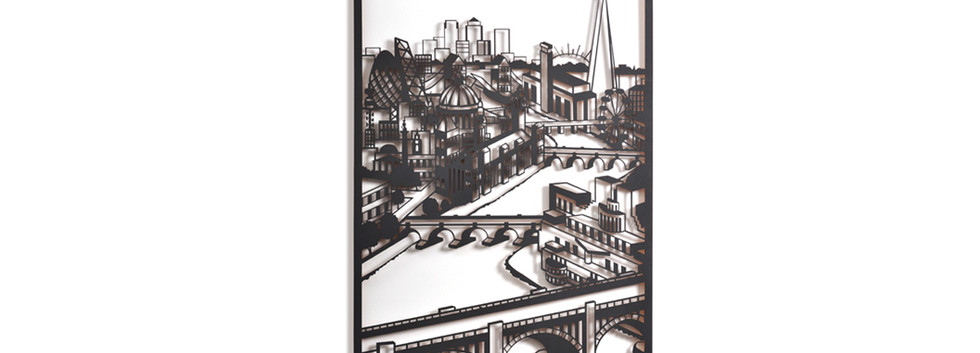 Martha Ellis Down the river London laser cut drawing