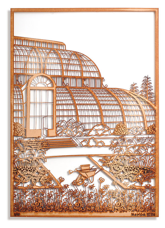 This image shows a laser cut piece of art by Martha Ellis. It has been cut out of MDF and depicts the Palm House at Kew Gardens, there are several flower beds in front of the glass house and a wheelbarrow. The work sits slightly off the wall so cast shadows behind it.