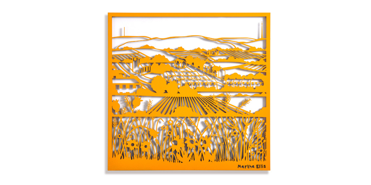Martha Ellis Moorland Flowers laser cut drawing Yorkshire