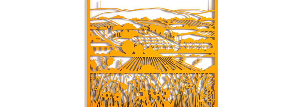 Martha Ellis Moorland Flowers laser cut drawing Yorkshire