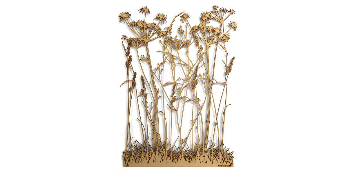 Martha Ellis Winter Grass laser cut drawing