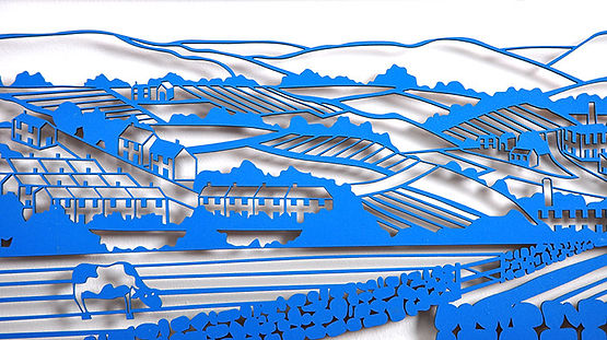 Martha Ellis Panormic landscape laser cut drawing