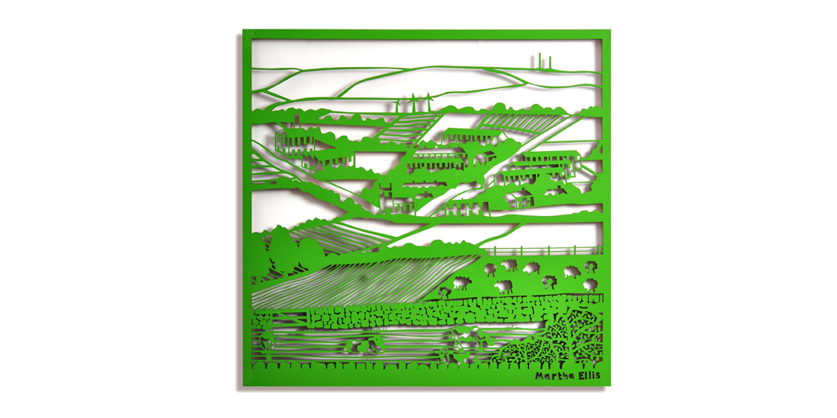 Martha Ellis Pennine View laser cut drawing Yorkshire