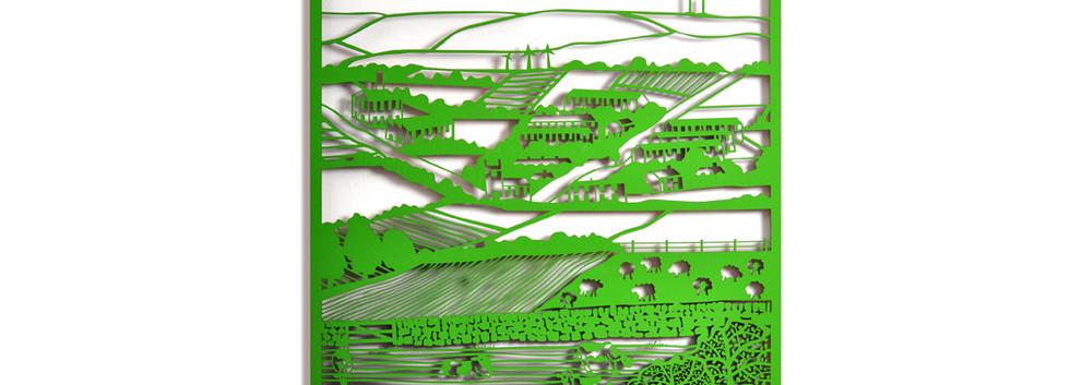 Martha Ellis Pennine View laser cut drawing Yorkshire