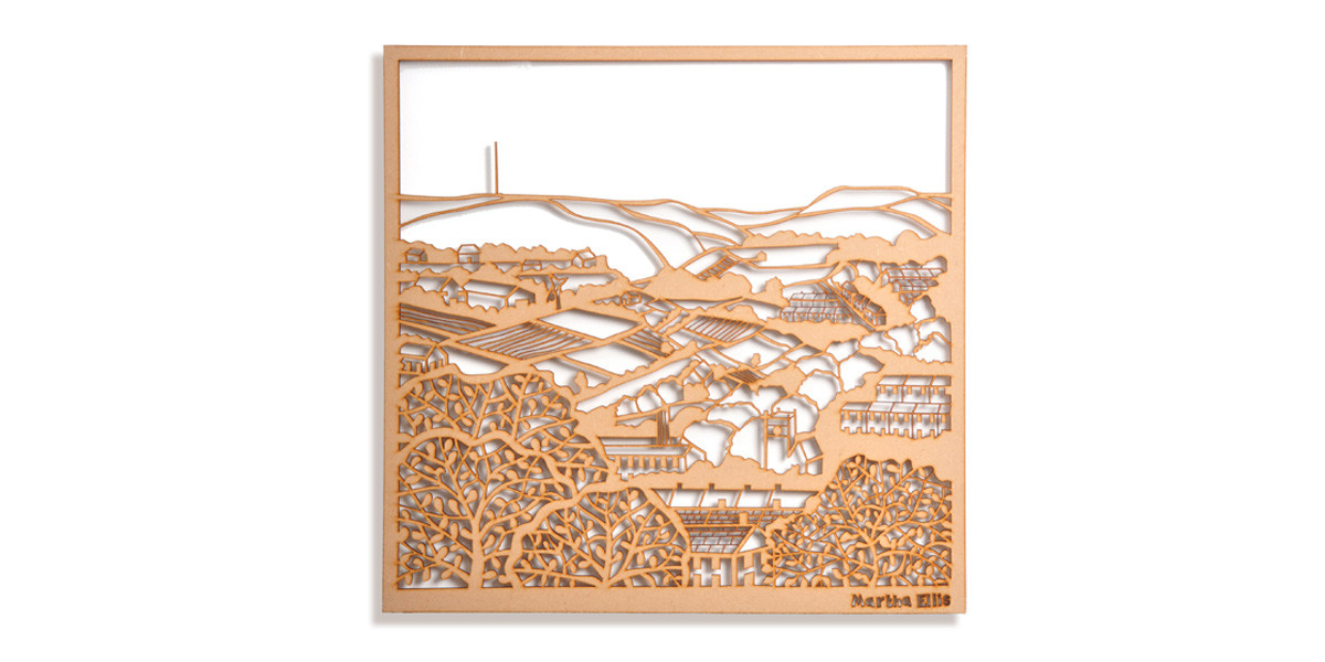 Martha Ellis Across the Valley laser cut drawing Yorkshire