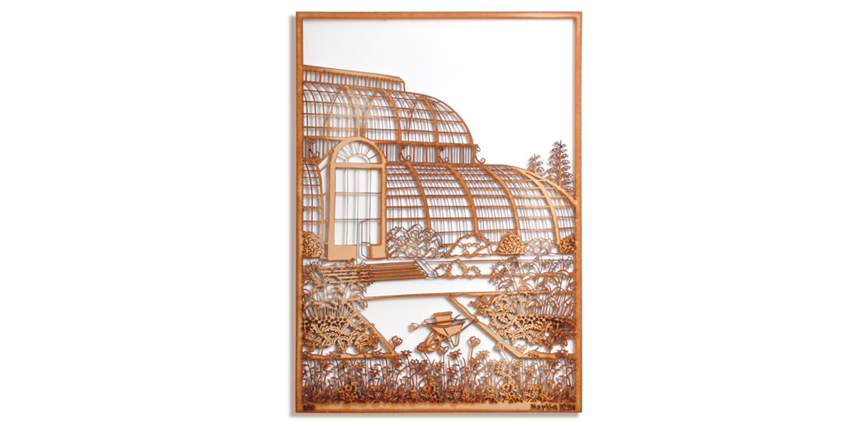 Martha Ellis Glass House laser cut drawing