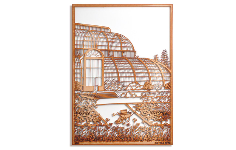 Martha Ellis Glass House laser cut drawing