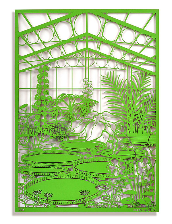 This image shows a laser cut piece of art of the water lily pond at Kew Garden, it has been cut out of MDF and spray painted a bight green and sits off the wall so casts shadows. The artist who made it is Martha Ellis.