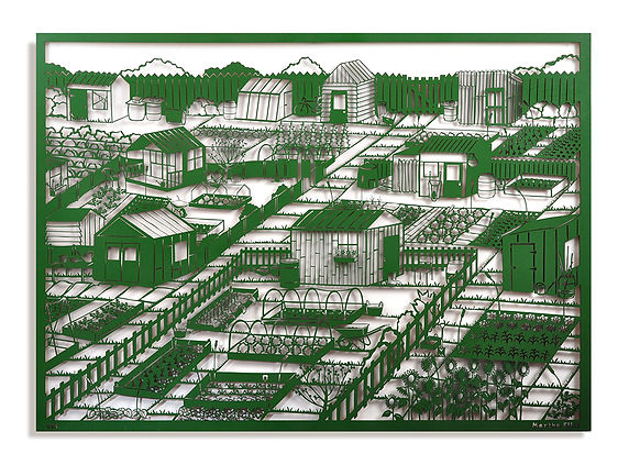 The image shows a large rectangle piece of art which depicts an allotment scene. There are several different garden sheds, raised beds, vegetable patches and bushes. The piece has been laser cut out of MDF and spray painted in dark green. It sits away from the wall so casts interesting shadows behind it. The work was create by Martha Ellis.