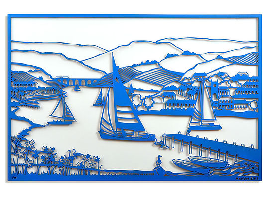 Martha Ellis Across the lake laser cut drawing