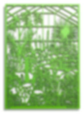 This image shows a laser cut piece of art by Martha Ellis. It has been cut out of MDF and sprayed bright green.  It depicts a glass house full of cactus based on the 'Arid Lands' glass house at the Botanical Gardens, Edinburgh. The work sits slightly off the wall so cast shadows behind it.