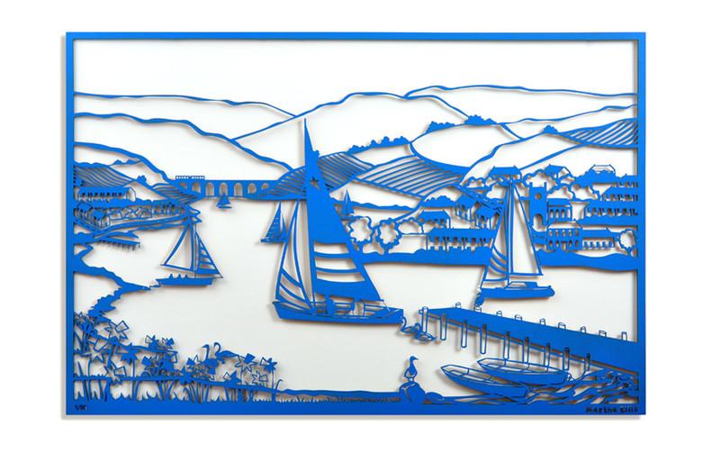 Martha Ellis Across the Lake laser cut drawing