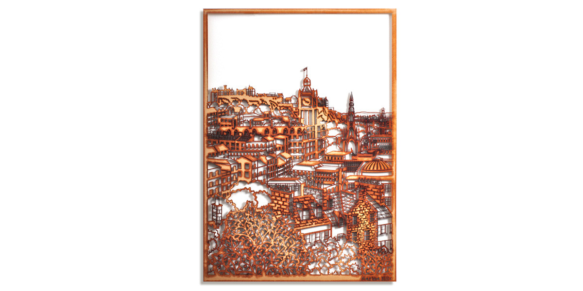 Martha Ellis Calton Hill Edinburgh laser cut drawing