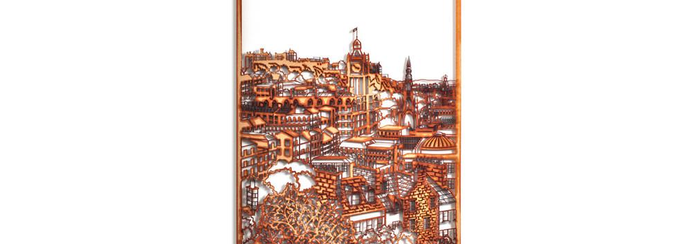 Martha Ellis Calton Hill Edinburgh laser cut drawing