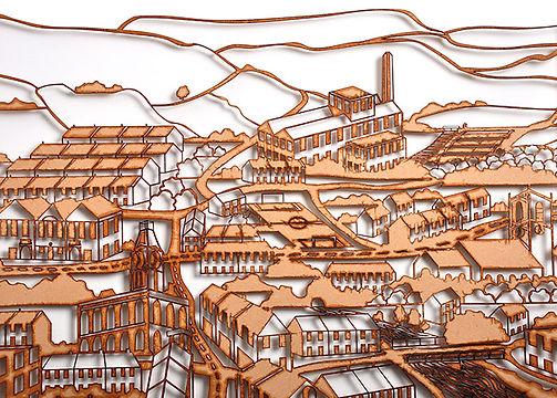 Martha Ellis the village laser cut drawing