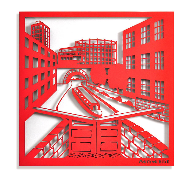 Martha Ellis Regents Canel laser cut drawing