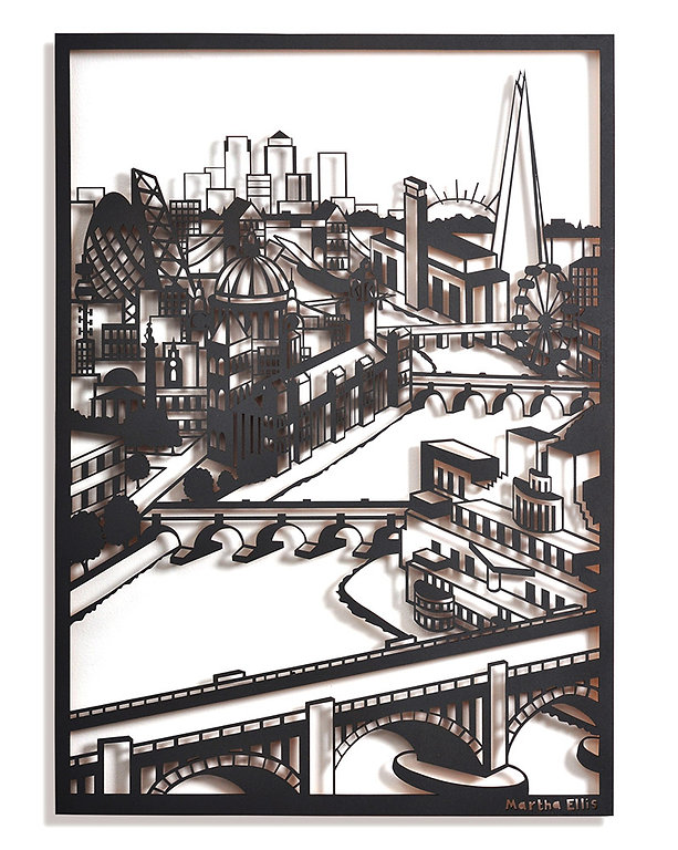 Martha Ellis Down the River laser cut drawing