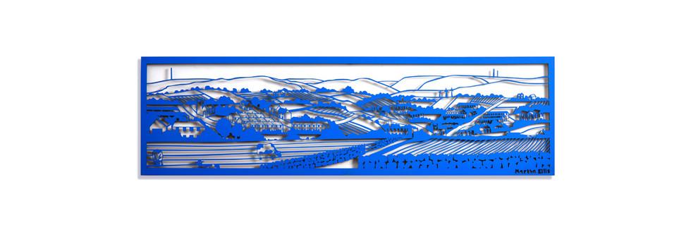 Martha Ellis Panoramic Landscape laser cut drawing Yorkshire