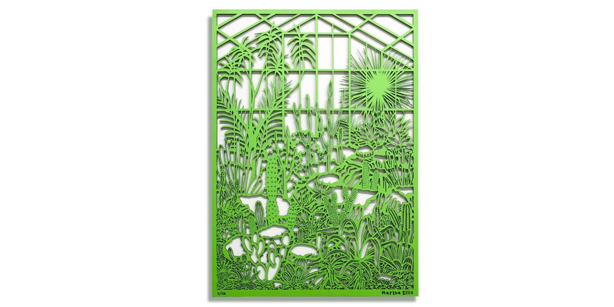 Martha Ellis Cactus House laser cut drawing