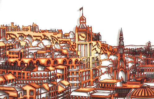 The image shows an art work made by Martha Ellis. It is an urban landscape drawing of Edinburgh, drawn from Calton Hill looking west along Princes Street and to the Castle. The work is made by laser cutting MDF and creating a burnt edge. The work sits off of the wall so creates a shadow behind it.