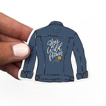 Wild Flower Denim Jacket Sticker