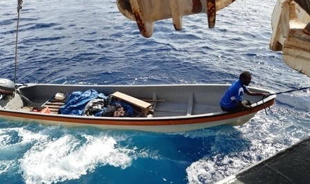 A Fisherman and climate change activist rescue by a Tuna Purse Seiner in Papua New Guinea waters