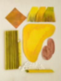 Grauberg, Kunst, Collage gelb, Papierarbeit, Kasten-Grauberg