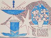Anjuna 33, 24 x 32 cm, Zeichnung, koloriert
