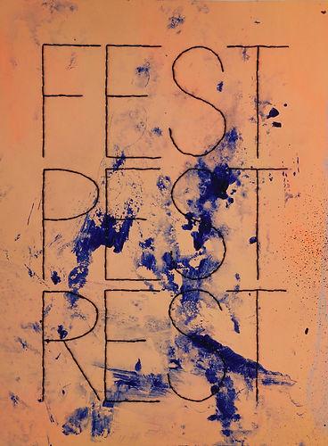 Grauberg, Kunst, Papierarbeiten, Stickgarn, Text im Bild